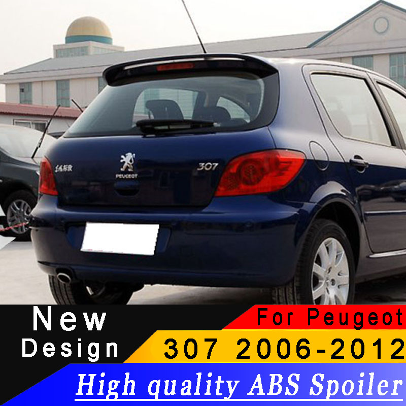 For Peugeot <font><b>307</b></font> 2006 to 2012 Hatchback High quality ABS spoiler any color or primer rear wing Automobile beautification spoiler image