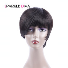 [SPARKLE DIVA HAIR] Brazilian None Lace Short Bob Human Hair Wig For Black Women Natural Wave Swiss Lace With Baby Hair Non Remy