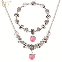 U7 DIY Bead Necklace Set Tibetan Silver Plated Opal Natural Stone Pendant Necklace Bracelet Jewelry Set Wholesale S606
