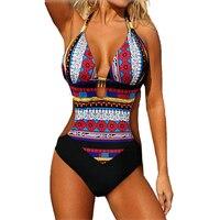 2016 Women Sexy Brazilian Halter Large Size Push Up Swimwear Ladies Beachwear Monokini Trikini One Piece