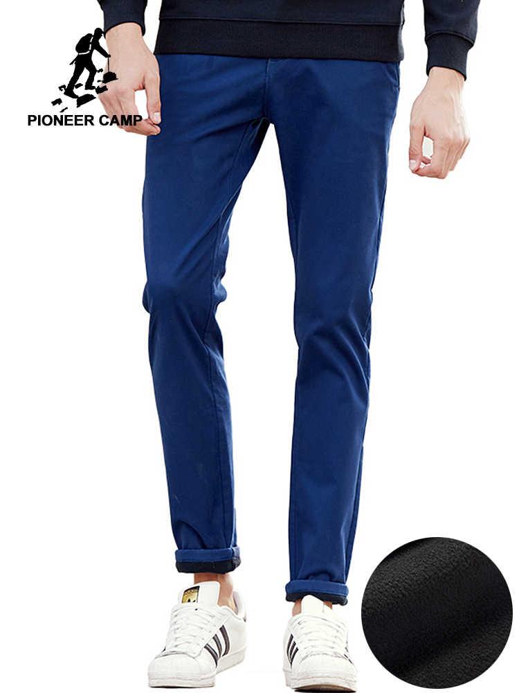 0ef5dabd8e215 Пионерский лагерь Новые повседневные зимние повседневные брюки мужские  Качественные теплые флисовые мужские брюки Брендовые мужские толстые