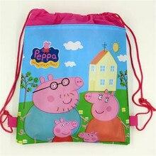 ¡ Promoción! 12 unids/lote Muchacha del morral peppa pig bolso de lazo de regalo de cumpleaños para niños de dibujos animados mochila de tela no tejida
