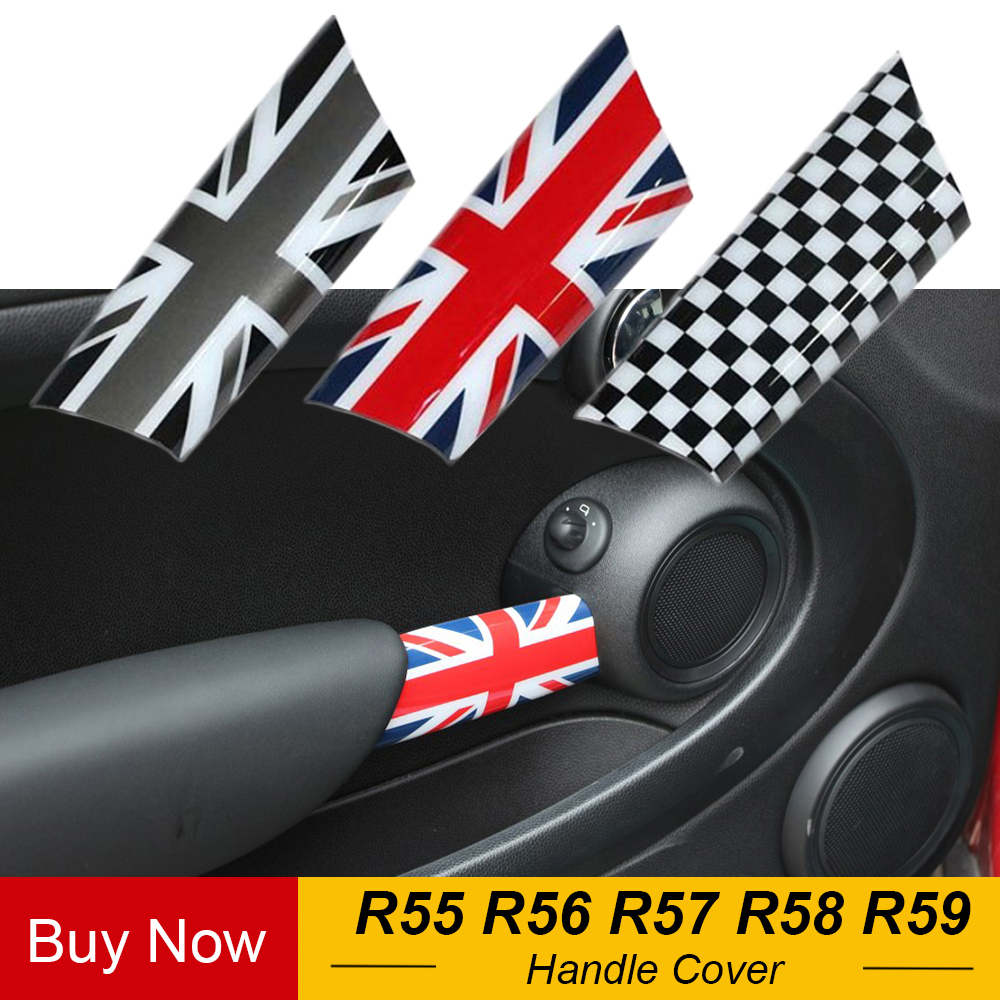 2pcs Union Jack Car Interior Door Handle Knob Cover Trim for Mini Cooper JCW R55 Clubman R56 R57 R58 R59 Car Styling Accessories
