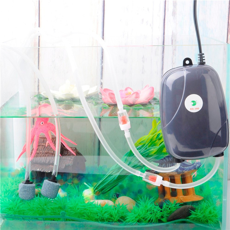 Aquarium Air Pump Fish Tank Mini Compressor Single Double Outlet Oxygen Pumps With Accessories Stone Check Valve Tube 220V 3W 5W 1