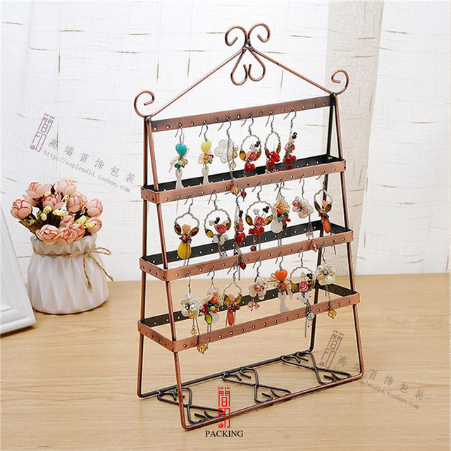 72 Hole Rack Creative Wrought Iron Earring Holder Fashion Earrings Display Household Hanging Storage