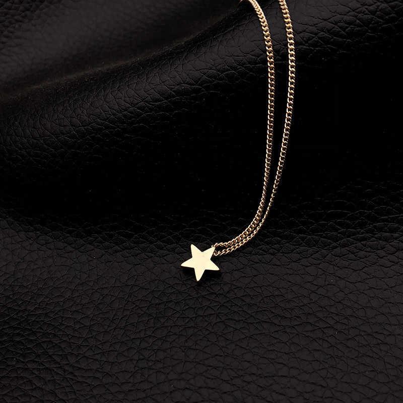ร้อนหญิงสายสร้อยคอทองเงิน Star สร้อยคอสร้อยคอ Choker สร้อยคอ Collier Femme ของขวัญ