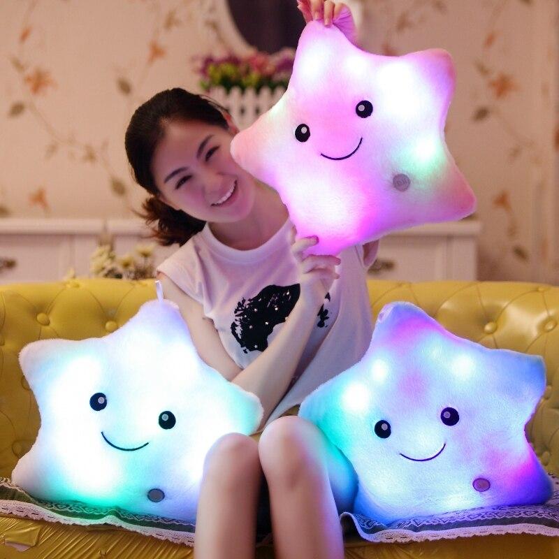 Милые игрушки Красочный светодиодные Игрушечные лошадки световой пять звезд свет свечение Подушки детские плюшевые