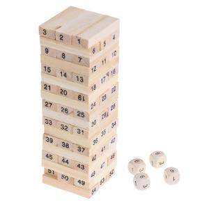 Wooden Digits Signed Blocks Stacking Building Model Tower Bricks Kids Educational Pulling Stacking Game Toy with Dice S Size(China)