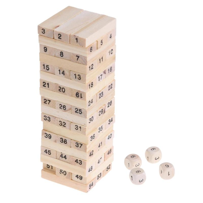 Wooden Digits Signed Blocks Stacking Building Model Tower Bricks Kids Educational Pulling Stacking Game Toy with Dice S Size
