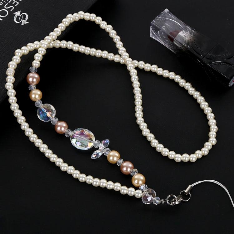 Id Card Beads: Long Charm Pearl Beads Neck Strap Key/ID Card Badge