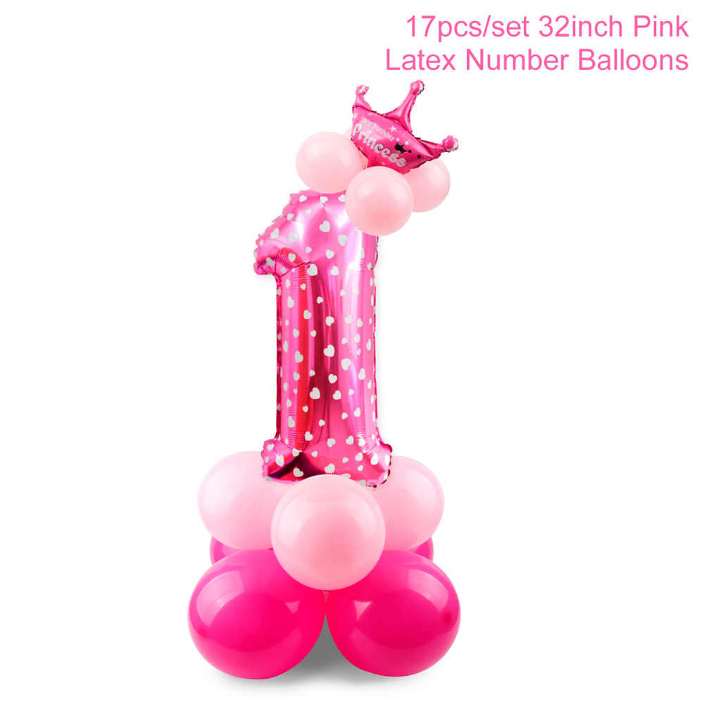QIFU 1st Birthday Party Decorations Kids Girl Pink First Decor Banner Balloons One Year
