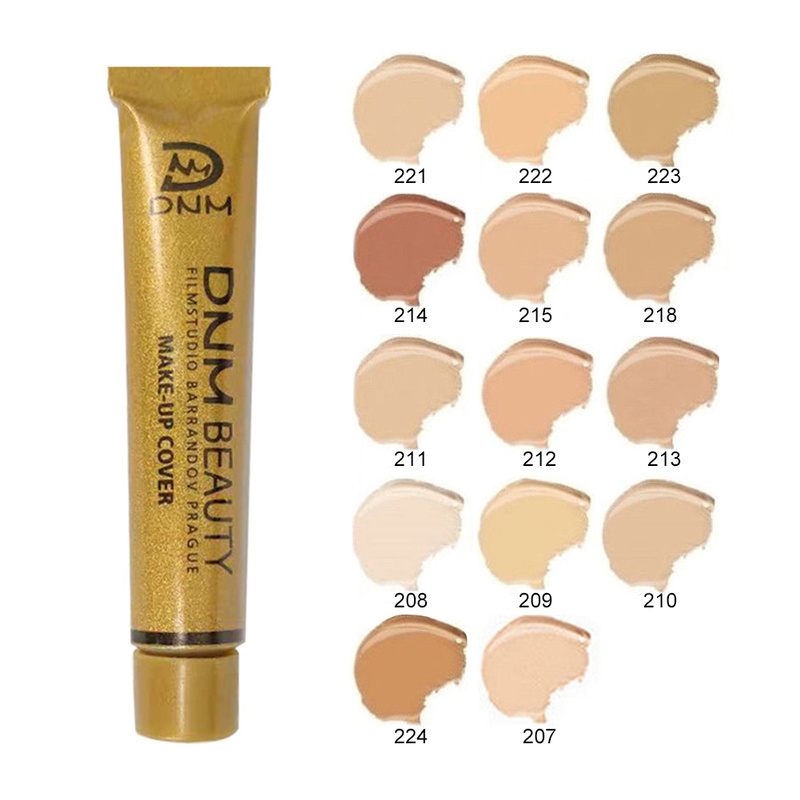 New Natural Lady Small Gold Tube Waterproof High Covering 14 Colors Conceal Liquid Make-Up Long Lasting Foundation Cream TSLM1