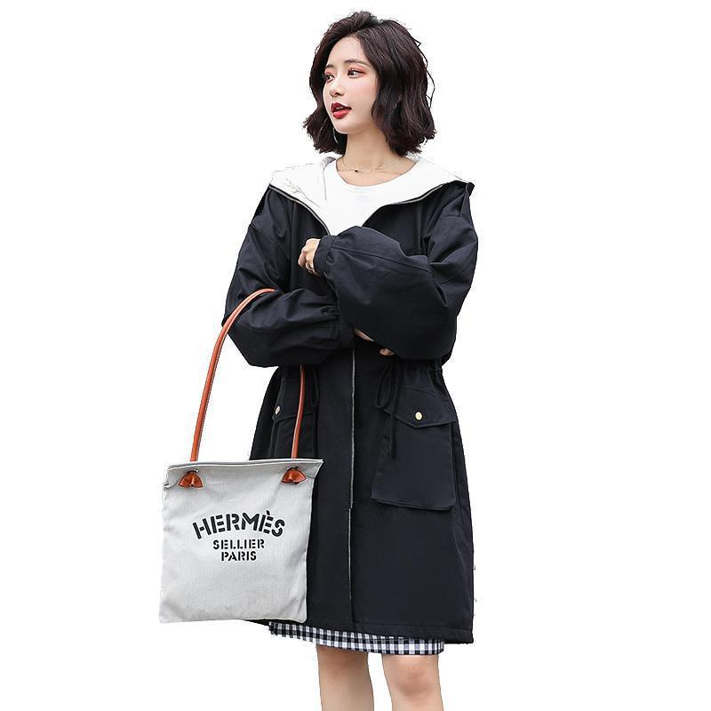 Korean style   trench   coat 2019 new women spring autumn plus size black outerwer woman hooded medium long loose Windbreaker