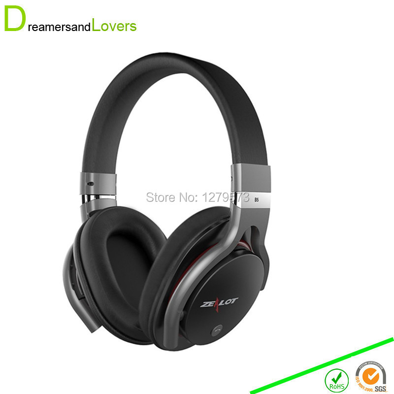 Wireless Bluetooth 4.0 Over-Ear Headphones Noise Cancelling Earphone Headset with Built-In Microphone For Iphones Samsung Black