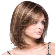 HAIRJOY isıya dayanıklı sentetik kısa Bobo saç peruk kadınlar için sarışın vurgulanan peruk Cosplay peruk
