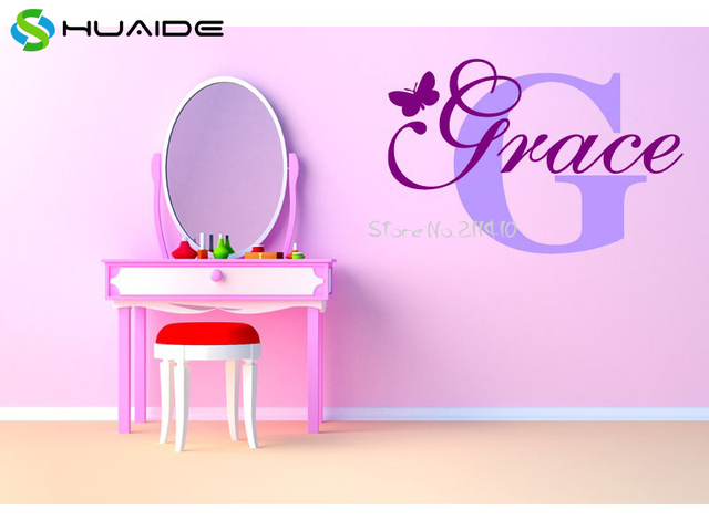 Personalize wall sticker butterflies vinyl art decals customized name wall stickers for bedroom decor adesivo de