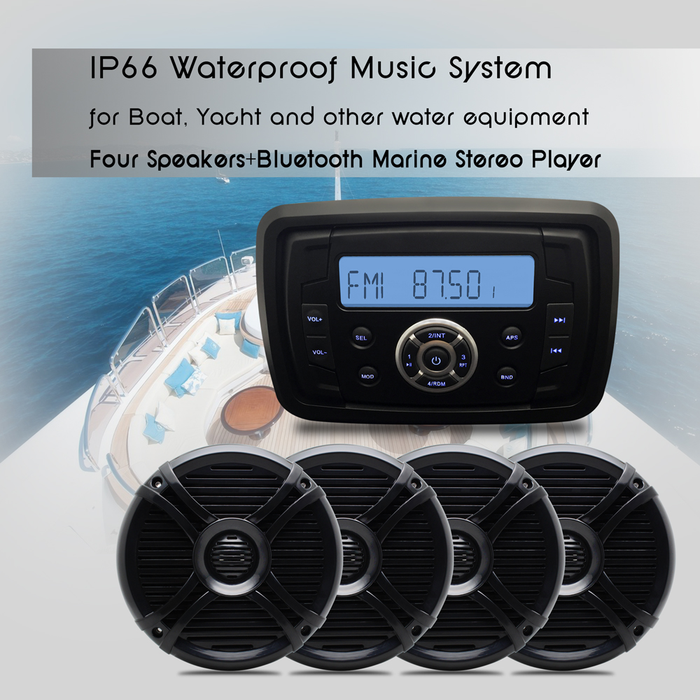 Boat Stereo Marine Audio Bluetooth Radio Motorcycle MP3 USB Charger ...