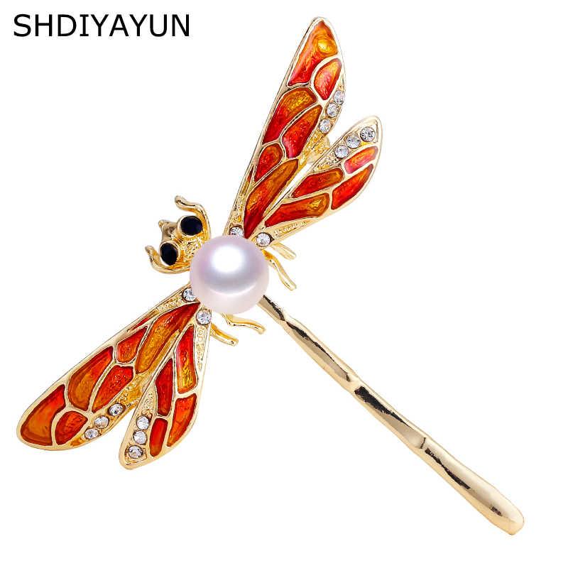 SHDIYAYUN nuevo broche de perlas de alta calidad broche de libélula para mujeres broche de esmalte Vintage alfileres joyería de perlas de agua dulce Natural