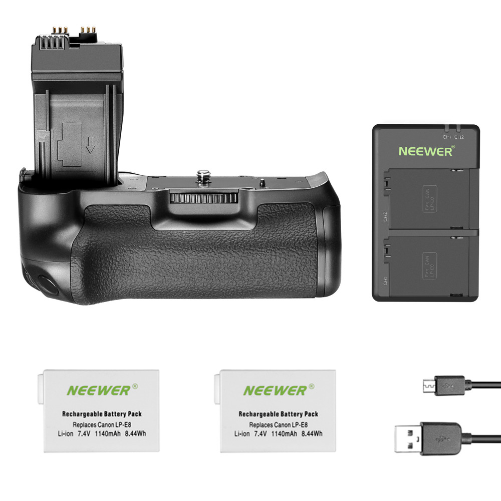 Neewer BG E8 Replacement Battery Grip for Canon EOS 550D 600D 650D 700D Rebel T2i T3i T4i T5i DSLR Cameras  Come with 2 Battery|Battery Grips| |  - title=