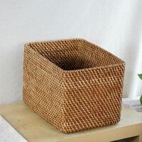 Прямоугольные корзины для хранения корзина для хранения импортных натуральная ротанговая Корзина Коробка для хранения Новый