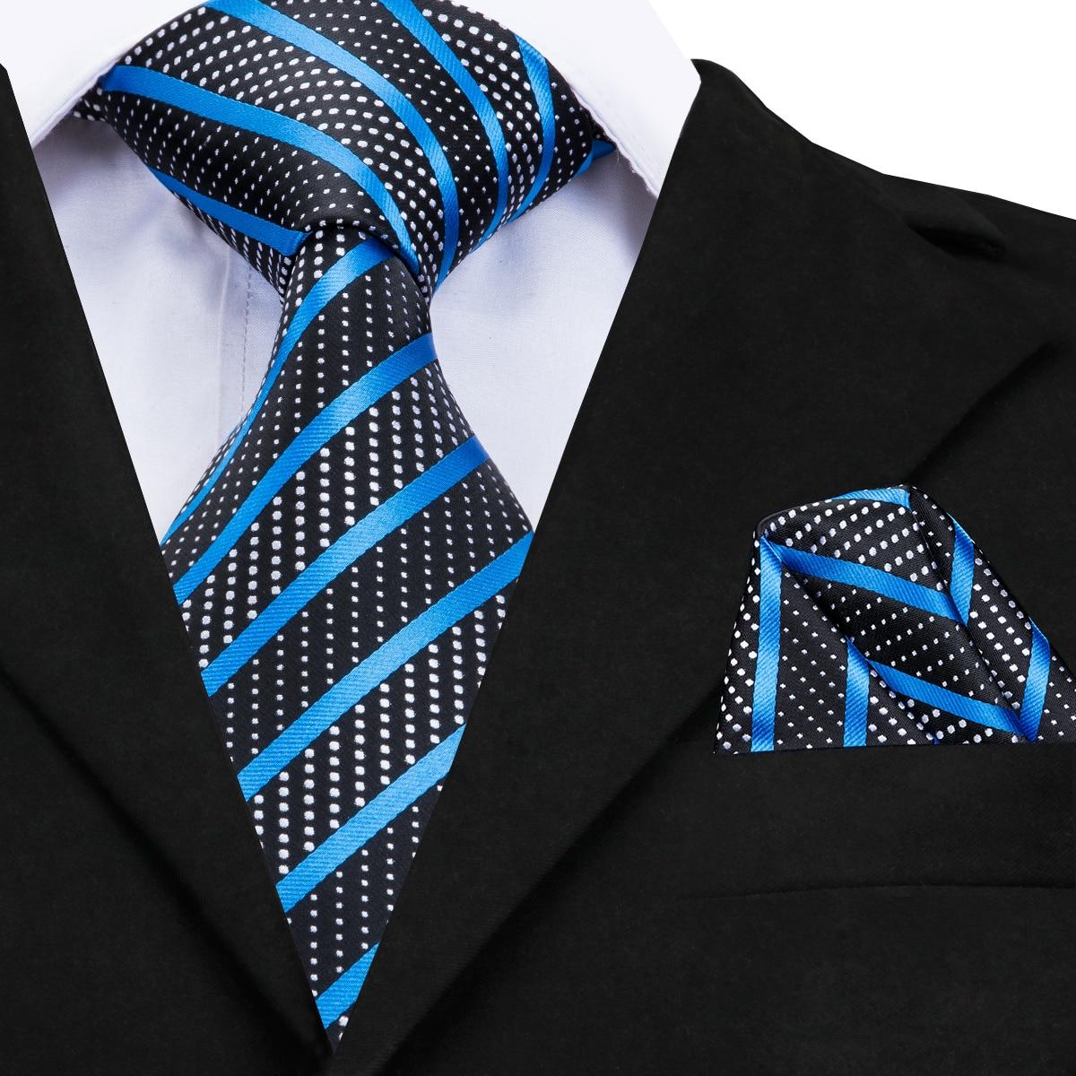 Luxury Silk Tie 2018 Brand Desiger Fashion Blue Striped Ties For Men Business Formal Neck Tie Handky Without Cufflinks CZ-007