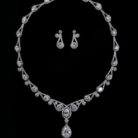 Exquisite Bride Married Jewelry Sets CZ Plated White Gold Necklace Earrings