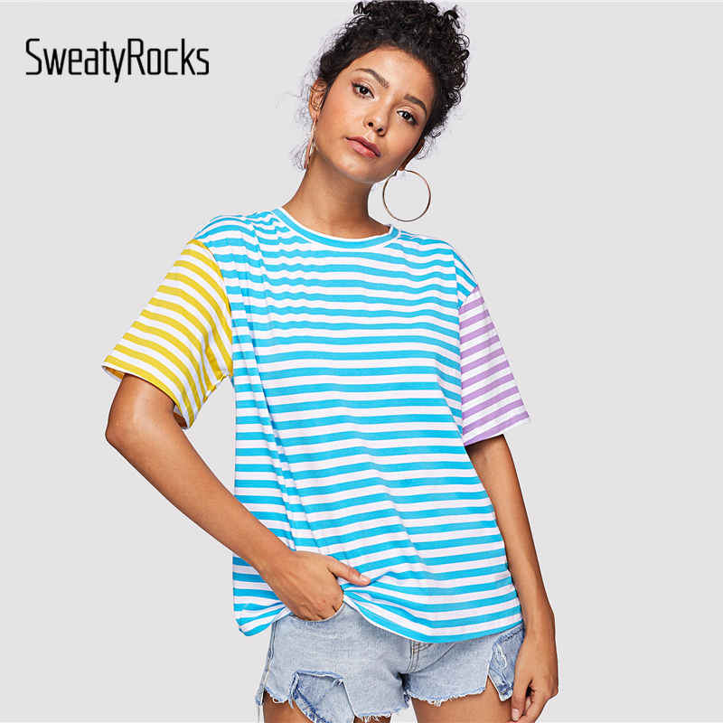 Sweatyrocks Striped Ringer Short Sleeve T-shirt Streetwear O-neck Colorful Preppy Tees 2019 Summer Casual Kawaii Women Tops T-shirts