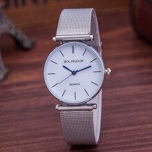 Reloj Mujer Nueva Marca Famosa Reloj de Cuarzo Ocasional de Las Mujeres Vestido de Acero Inoxidable de Malla Metálica Relojes Relogio Feminino Regalo de la Venta Caliente