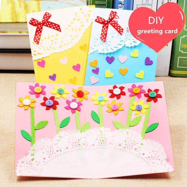 Us 4 98 3pcs Diy Handmade Greeting Card Kits Envelope Kid Non Woven Felt Fabric Toy Preschool Educational Supply Birthday Gift In Craft Toys From