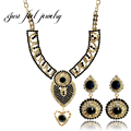 Vogue Italian Gold Plated Jewelry Sets Heart Austrian Crystal Necklaces Pendants Earring For Women Bridal Wedding Jewelry