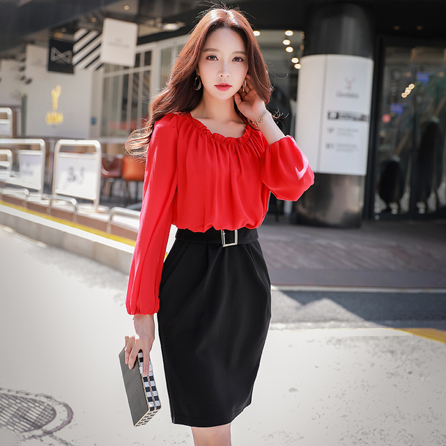 3169fa97f0bfe US $38.49 45% OFF Dabuwawa Autumn Long Sleelve Ruffle Elegant Bodycon Dress  High Waist Knee Length Chiffon Midi Dress For Women Girls Office Lady-in ...