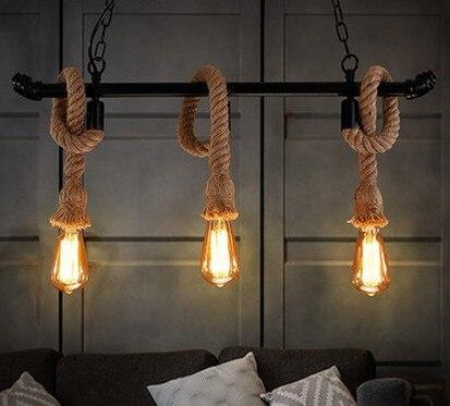 Vintage hemp Roper pendant lights DIY Loft lamp dining ...