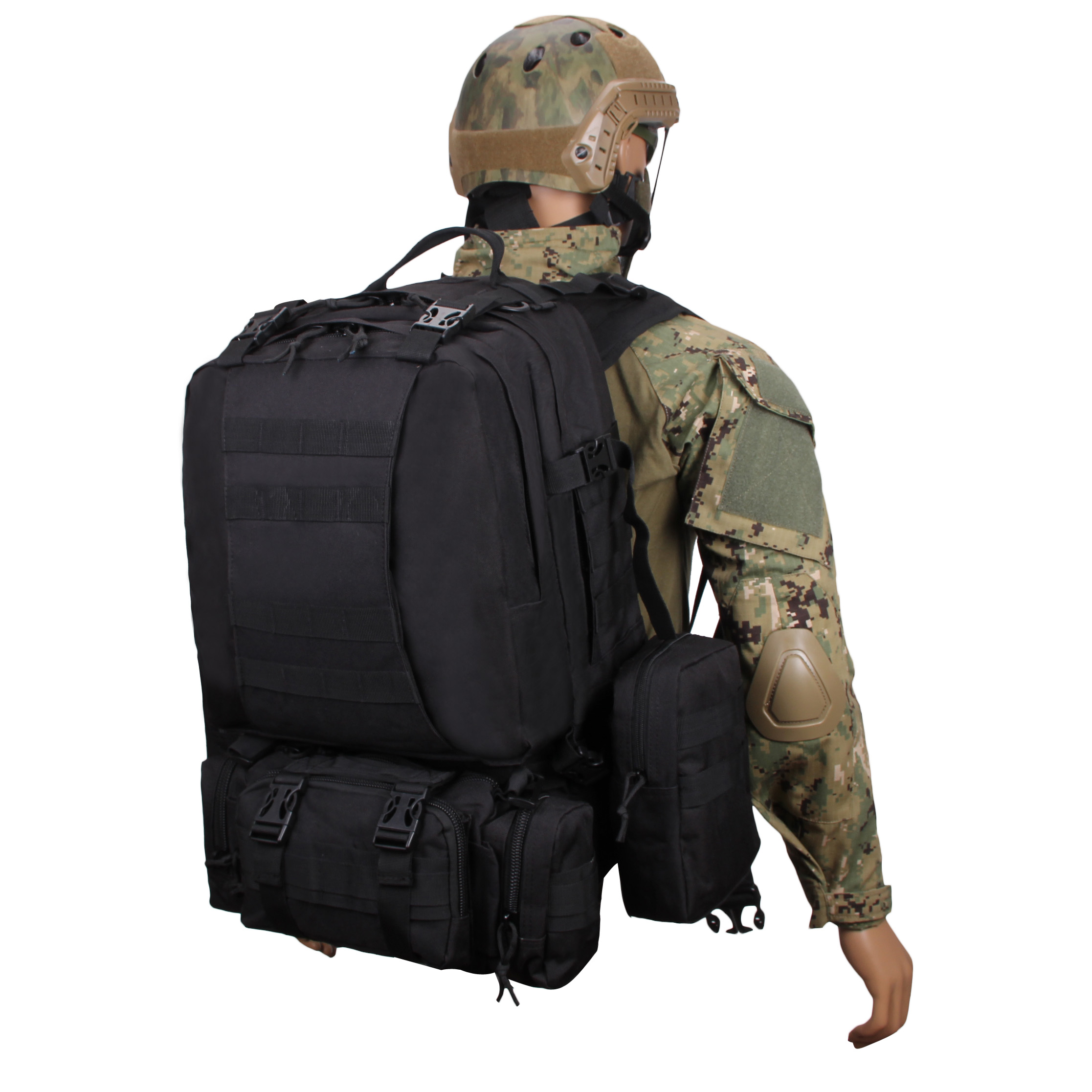 45L Large Combination Backpack Tactical Military Molle Camping Hiking Knapsack outdoor Camping Products Camouflage Backpack