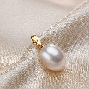 Image 2 - Collares de oro amarillo de 18K de alta calidad para mujer 5A pendientes de perla de agua dulce Natural con cadena de joyería