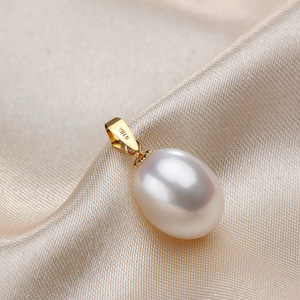Image 2 - High Quality Promise Real 18K Yellow Gold Necklaces For Women Fashion 5A Natural Freshwater Pearl Pendants With Chain Jewelry