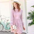 Woman Pink Lace Club Dress
