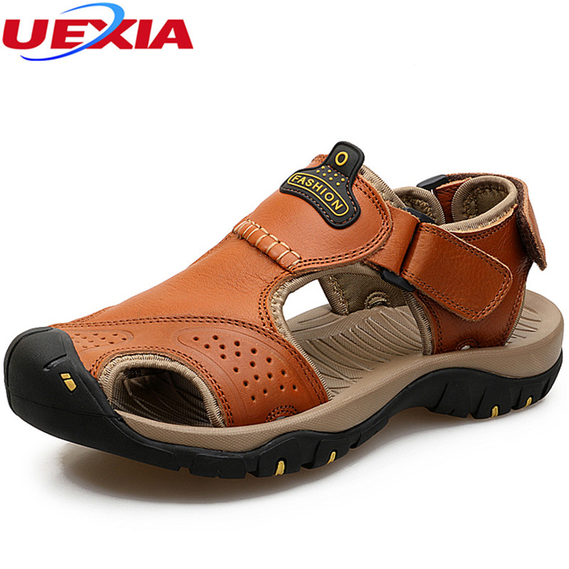 UEXIA New Fashion Summer Shoes Men Sandals Non-slip Handmade Men Breathable Casual Shoes Leather Beach Fashion Dual-purpos Soft