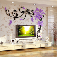 Acrylic Crystal Flower Vine 3D Wall Stickers Living Room Wall Decoration Removable Sticker Creative Home Decor