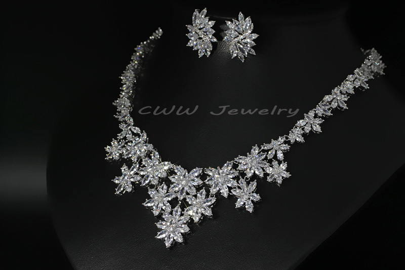 White gold color marquise shape cubic zirconia large flower white gold color marquise shape cubic zirconia large flower wedding necklaces and earrings sets for bridal costume jewelry t165 in bridal jewelry sets from junglespirit Gallery