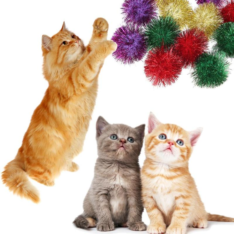 6/12pcs Multicolor Mylar Crinkle Ball Pet Cat Toys Ring Paper Dog Toy Interactive Sound Ring Paper Kitten Playing Balls For Dogs