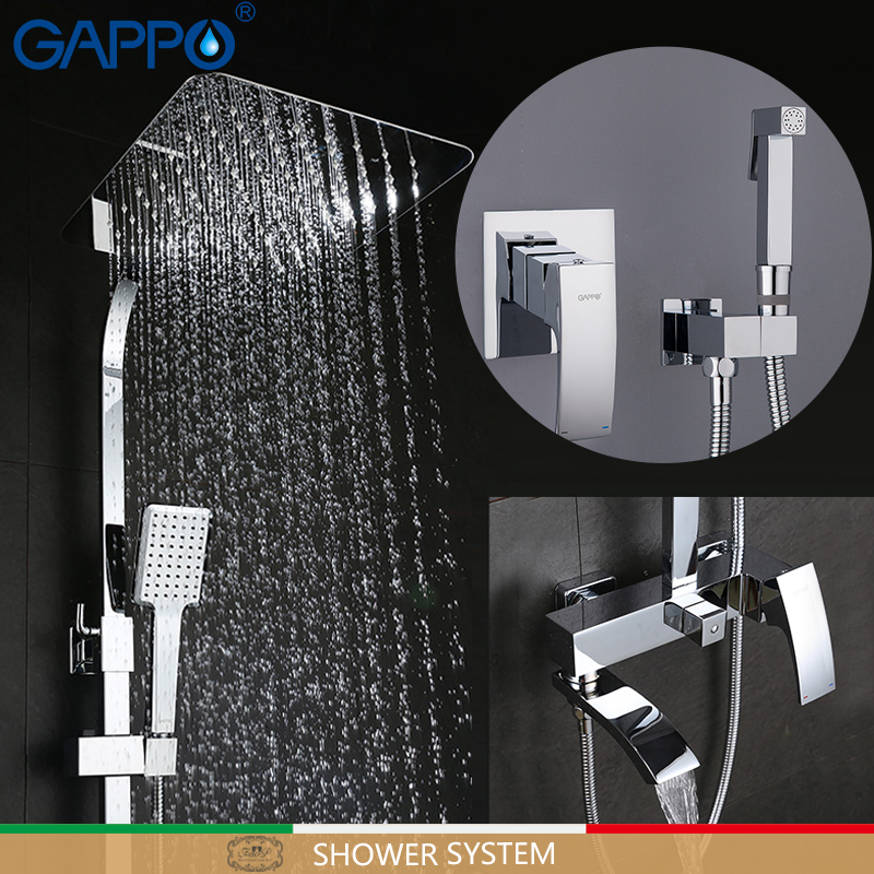 GAPPO wall mount  faucet Rainfall shower mixer tap muslim toilet sprayer bath shower set shower system Sanitary Ware Suite
