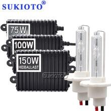 SUKIOTO Fari HID 100W kit H7 H1 H3 H8 H11 nascosto il corredo del faro 75W 150W 4300K 6000K 8000K hid zavorra auto ad alta potenza di luce