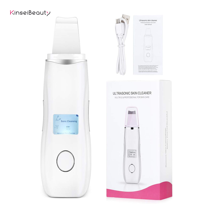 Ultrasonic Facial Skin Scrubber Ion Deep Face Cleaning Peeling EMS Microcurrent Face Lift Rechargeable Skin Care Device Beauty