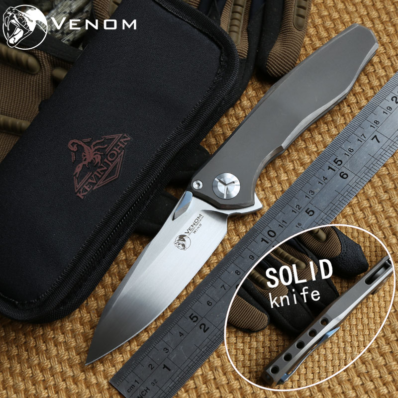 VENOM 4 Wing Kevin John M390 SOLID Titanium Flipper folding knife ceramic ball bearing camping Drills