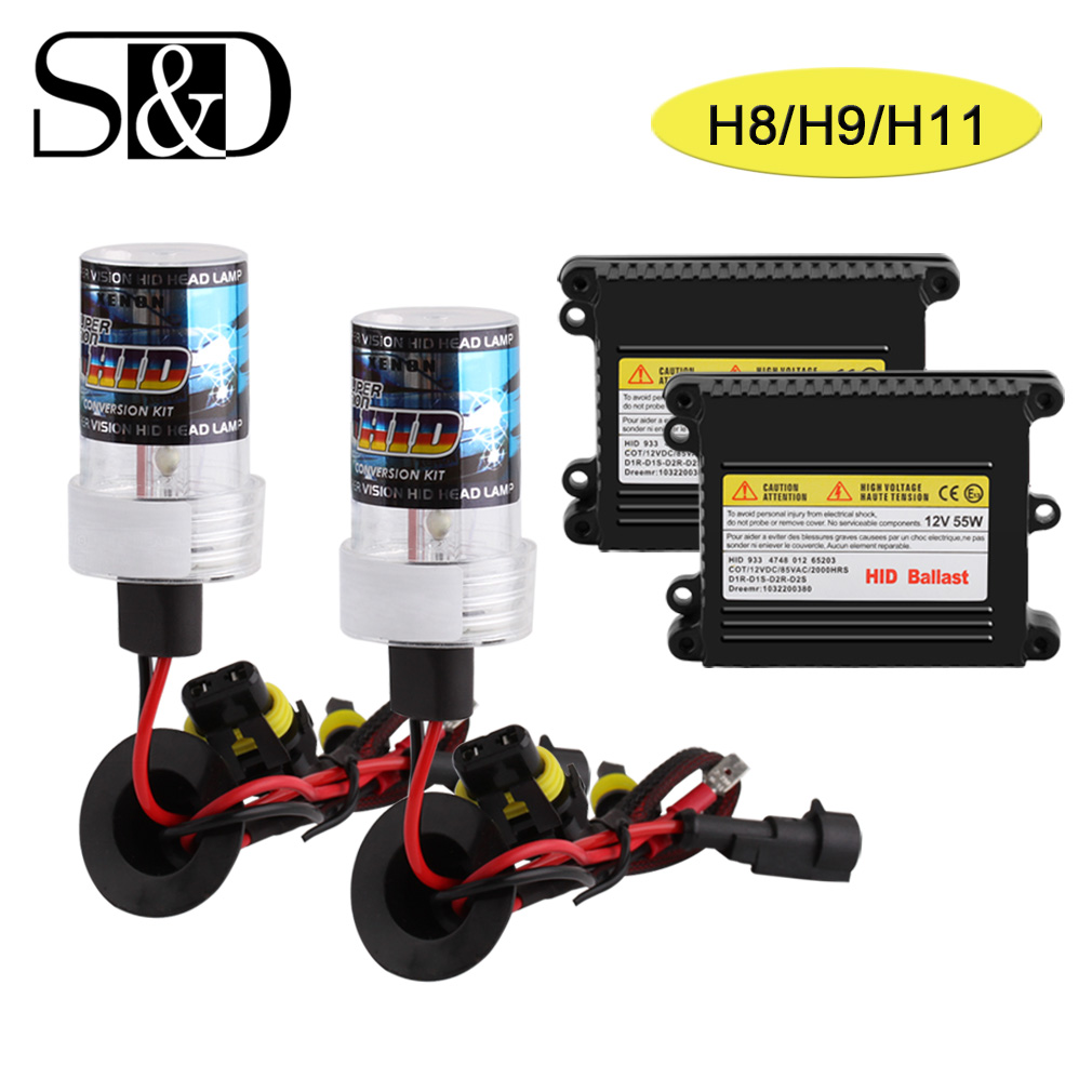 H8 H9 H11 Xenon hid conversion kit Auto Headlight Xenon Lamp Slim Ballast Bulbs 35W 55W 12V White Yellow 3000K 6000K D020 стоимость
