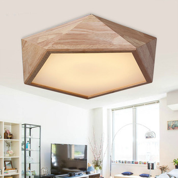 Caliente Oak lámparas de techo modernas para comedor salón dormitorio  deckenleuchten madera llevó lámparas de techo abajur