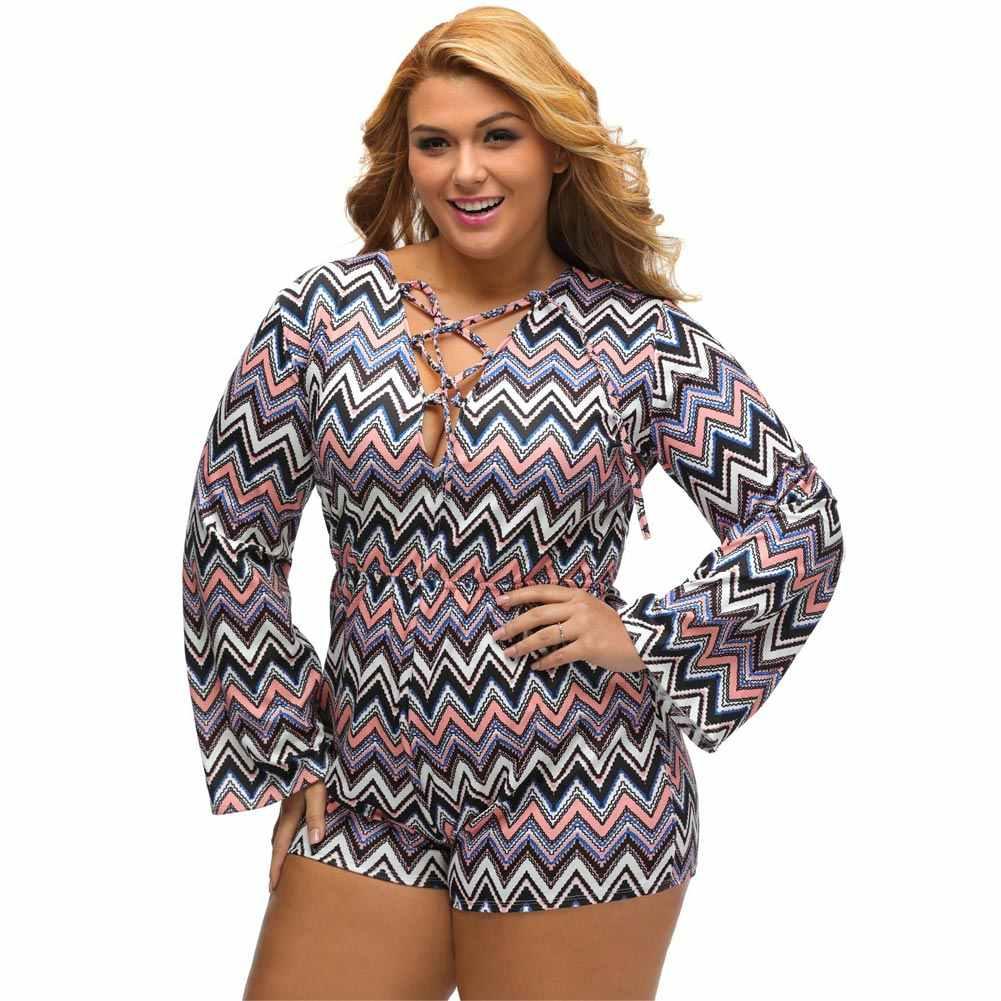 7d3ba781ff5db 2019 3XL Sexy Women Plus Size Printed Jumpsuit Summer Deep V Lace Up  Bodysuit Long Sleeve High Waist Playsuit Short Rompers