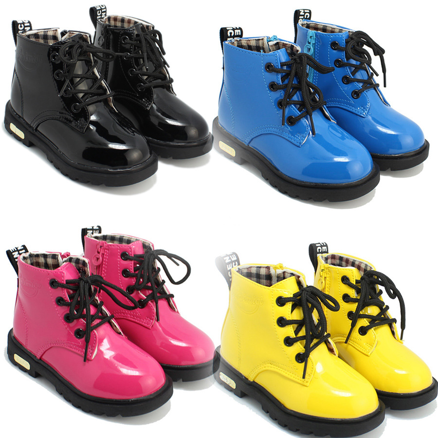 ФОТО 2015 Child Leather waterproof boots Comfortable Kids Winter Boots Boys Quality Ankle Snow Children's Winter Boots