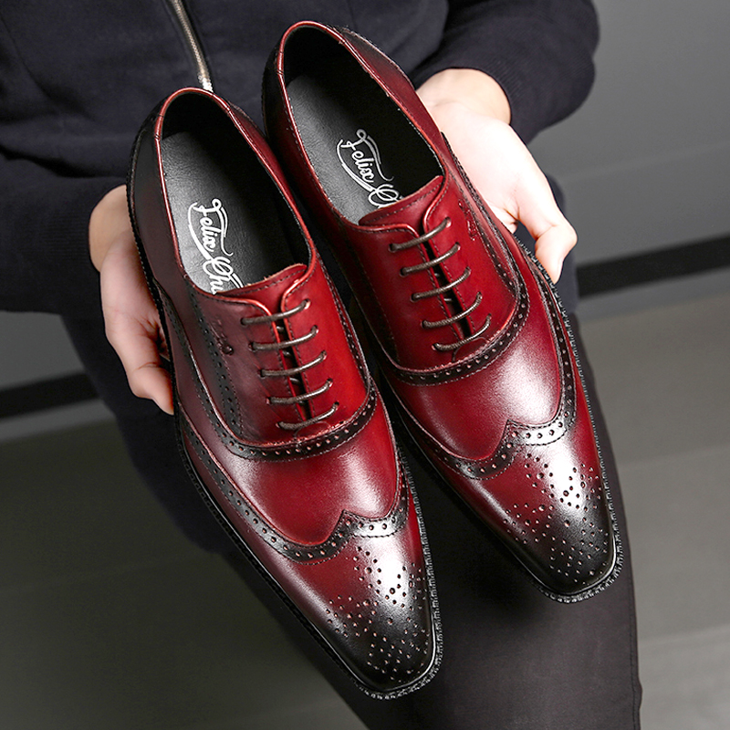 Classic Style Cow Leather Elegant Brogue Shoes Men Lace Up Pointed Toe Breathable Footwear for Men