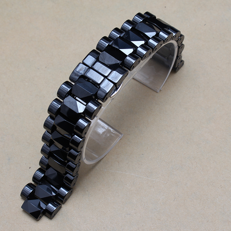 Men Size 19mm lug 10mm New High Quality Black Ceramic Watch Band Strap Bracelet Silver Deployment